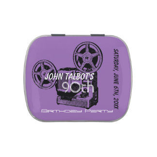 Vintage Projector 90th birthday Thank You Candy T Jelly Belly Candy Tin