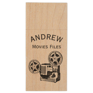 Vintage projector personalized Movies Files USB Wood Flash Drive