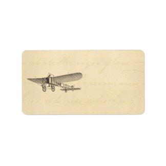 Vintage Propeller Airplane Retro Old Prop Plane Address Label