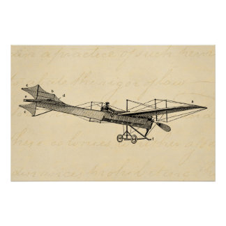 Vintage Propeller Airplane Retro Old Prop Plane Poster