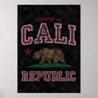 Vintage Property of Cali Flag Poster