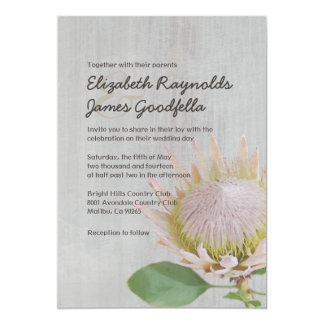 Vintage Protea Wedding Invitations