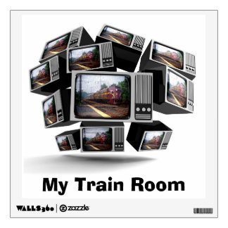 Vintage PRR Locomotives on TV Wall Sticker