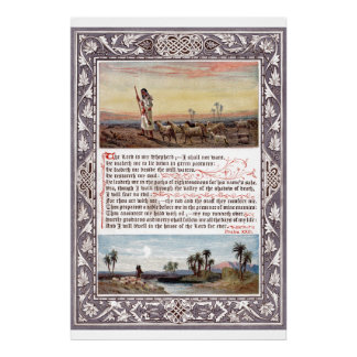 Vintage Psalm 23 Bible Verse Art Poster