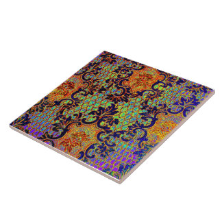 Vintage Psychedelic Wallpaper Floral Pattern Ceramic Tile