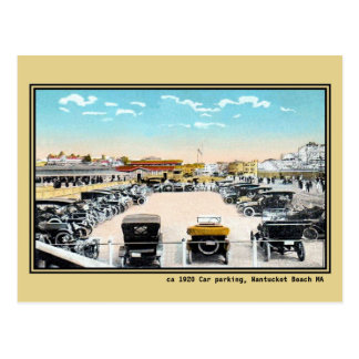 Vintage public car parking Nantucket beach MA Postcard