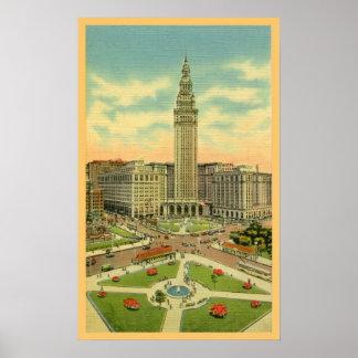 Vintage Public Square Cleveland Ohio Poster