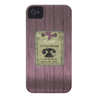 Vintage Puce Wooden Use Phone Across the Street Case-Mate iPhone 4 Cases