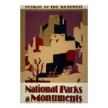 Vintage Pueblo WPA National Parks Travel Poster