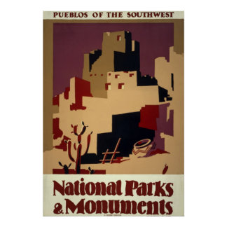 Vintage Pueblo WPA National Parks Travel Poster