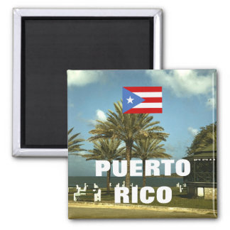 Vintage Puerto Rico Photography 2 Inch Square Magnet