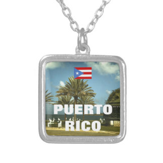 Vintage Puerto Rico Photography Silver Plated Necklace
