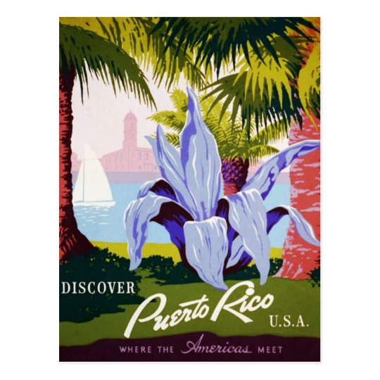 Vintage Puerto Rico Travel Tropical Art Deco Postcard