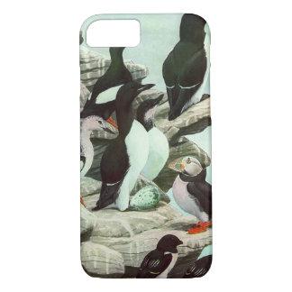 Vintage Puffins, Aquatic Bird, Marine Life Animals iPhone 8/7 Case