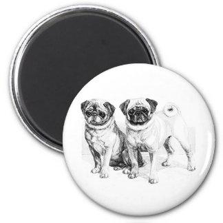Vintage Pug Illustration 2 Inch Round Magnet