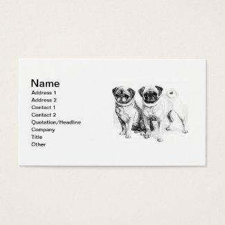 Vintage Pug Illustration Business Card