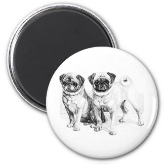 Vintage Pug Illustration Fridge Magnets