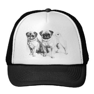 Vintage Pug Illustration Hat