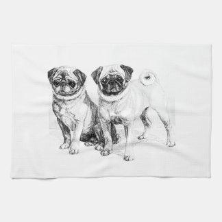 Vintage Pug Illustration Kitchen Towel