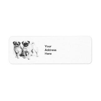 Vintage Pug Illustration Label