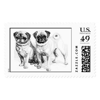 Vintage Pug Illustration Postage Stamp