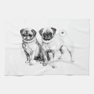 Vintage Pug Illustration Towels