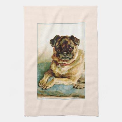Vintage Pug Love Hand Towel