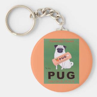 Vintage - Pug Orange Juice Poster Basic Round Button Keychain
