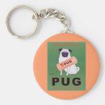 Vintage - Pug Orange Juice Poster Keychains