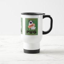 Vintage Pug Orange Juice Poster Travel Mug