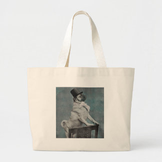 Vintage Pug with Top Hat Stereoview Large Tote Bag