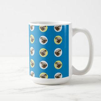 Vintage Pugs on Blue Classic White Coffee Mug