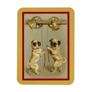 vintage pugs ringing new year bells flex magnet