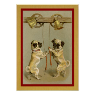 vintage pugs ringing new year bells poster
