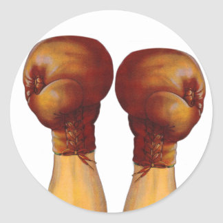 Vintage Pugulast Boxing Gloves One Two Punch Classic Round Sticker