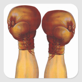 Vintage Pugulast Boxing Gloves One Two Punch Square Sticker