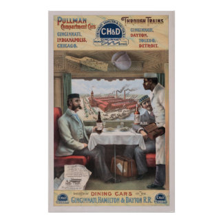 Vintage Pullman train cars Poster