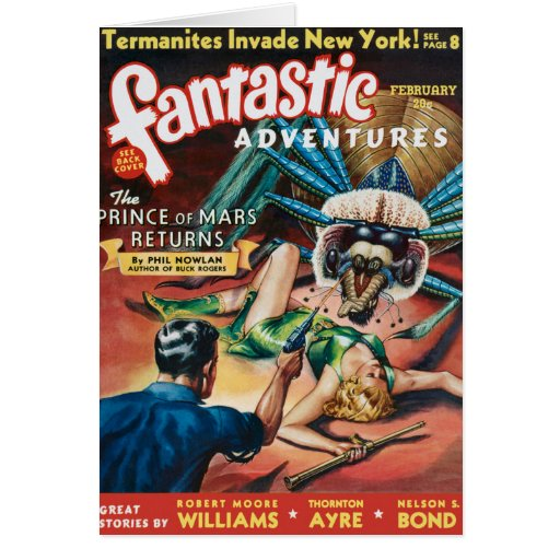 VINTAGE PULP MAGAZINE COVER GREETING CARD