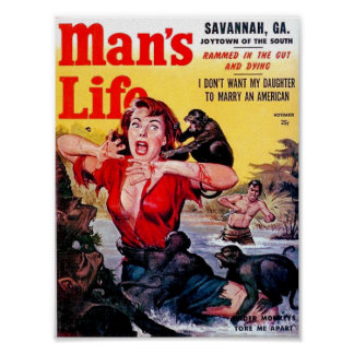 Vintage Pulp Magazine Man's Life Cover Poster
