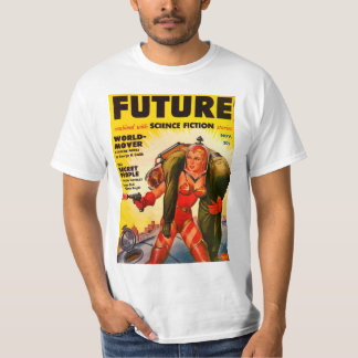 Vintage Pulp Paperback Sci-Fi Girl  Hero Cover T-Shirt
