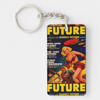 Vintage Pulp Paperback Sci-Fi Space Girl Cover Keychain