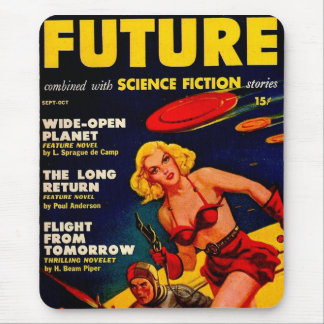 Vintage Pulp Paperback Sci-Fi Space Girl Cover Mouse Pad