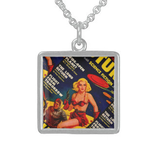 Vintage Pulp Paperback Sci-Fi Space Girl Cover Sterling Silver Necklace