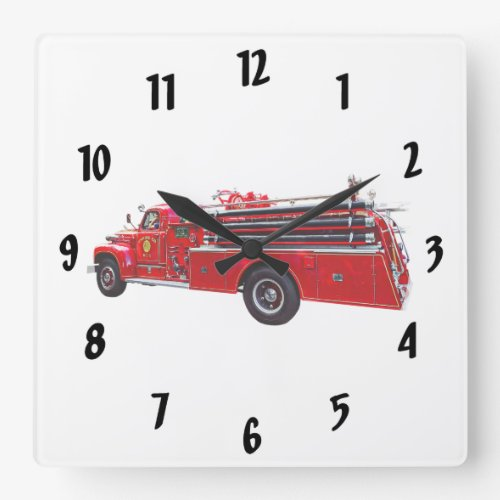 Vintage Pumper Fire Engine Square Wall Clock