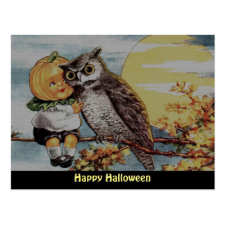 Vintage Pumpkin Boy  and Owl on Halloween Postcard