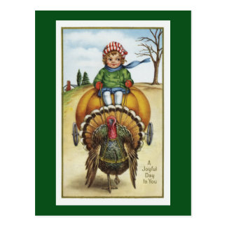 vintage pumpkin cart and turkey postcard