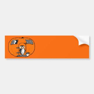 Vintage Pumpkin House Owl Bumper Sticker