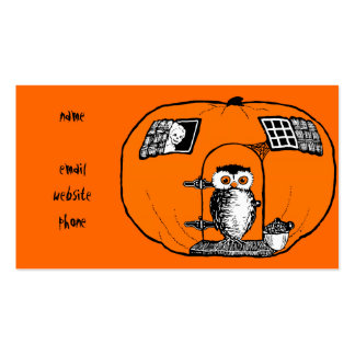 Vintage Pumpkin House Owl Double-Sided Standard Business Cards (Pack Of 100)