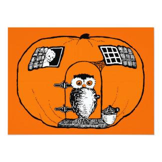 Vintage Pumpkin House Owl 5.5x7.5 Paper Invitation Card