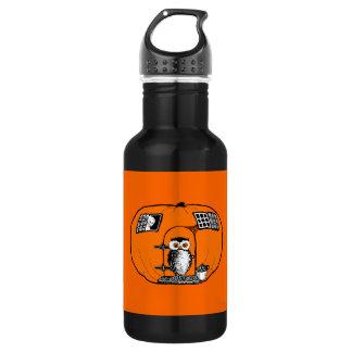 Vintage Pumpkin House Owl 18oz Water Bottle